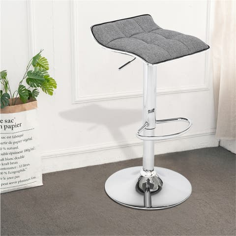 2 Soft-Packed Square Board Curved Foot Bar Stools Cotton And Linen