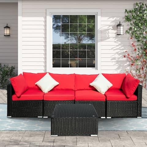 Ainfox 5-piece Outdoor Wicker Sofa Set Red/Blue/Off-white