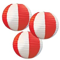 """Club Pack of 18 Red and White Striped Hanging Paper Lantern Party Decorations 9.5"""""""