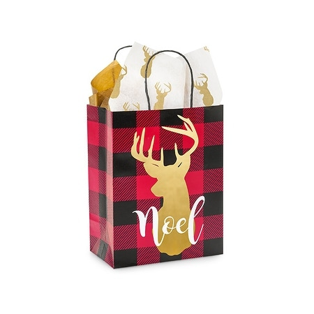 "Pack Of 25, Cub 8.25 X 4.75 X 10.5"" Buffalo Plaid Christmas Paper Shopping Bags Made From Recycled White Gloss Paper"