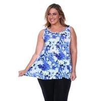 Plus Size Printed Floral Tank Top - Blue Flower