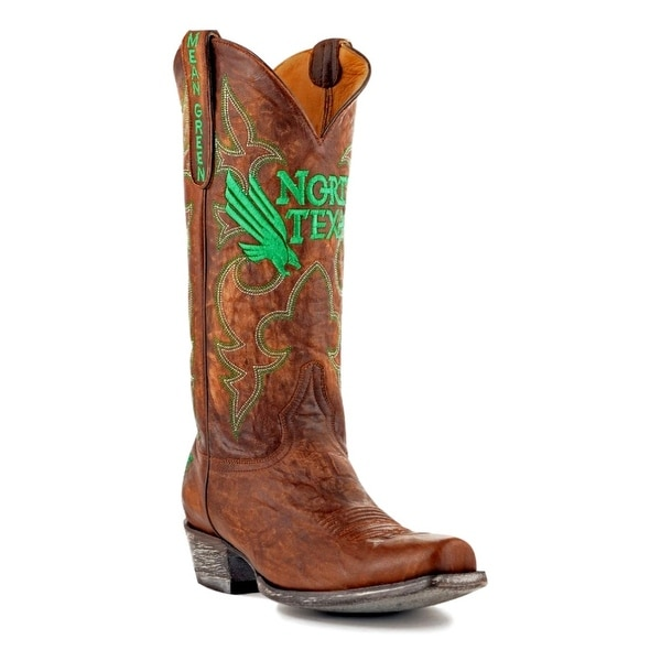 Gameday Boots Mens College Team North Texas Mean Green Brass