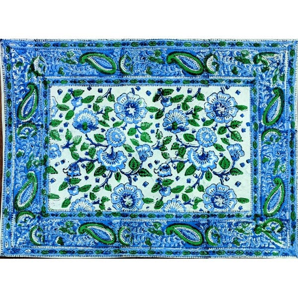 Block Print Floral Paisley Napkin Placemat Cotton Table Linen Blue Green Table Mat On Sale Overstock 32380921 Placemat 19 X 13 Inches
