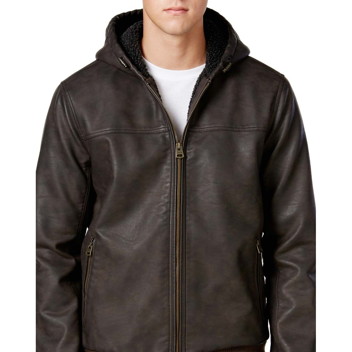 Levi's Dark Brown Faux Leather Hooded Sherpa Lining Bomber Jacket Medium M