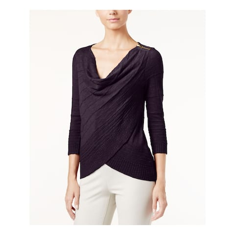 INC Womens Black 3/4 Sleeve Scoop Neck Faux Wrap Sweater Size XS