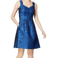 Nine West Blue Womens Size 12 A-Line Jacquard Fit Flare Dress