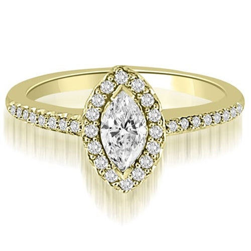 1.30 cttw. 14K Yellow Gold Halo Marquise And Round Cut Diamond Engagement Ring