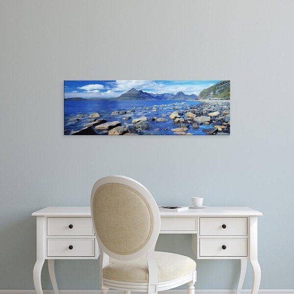 Easy Art Prints Panoramic Image 'Rocks on beach, Elgol Beach, Elgol, Cuillin Hills, Isle Of Skye, Scotland' Canvas Art