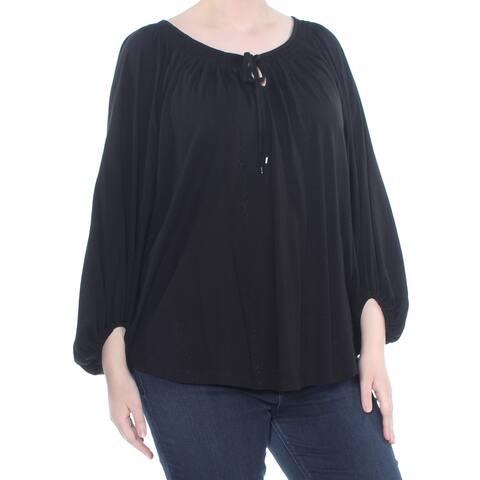 RALPH LAUREN Womens Black Puffed Sleeve Top Plus Size: XL