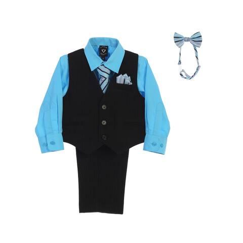 Lito Boys Aqua Shirt Zipper Tie Bow Tie Pinstripe Vest Pant Set 10