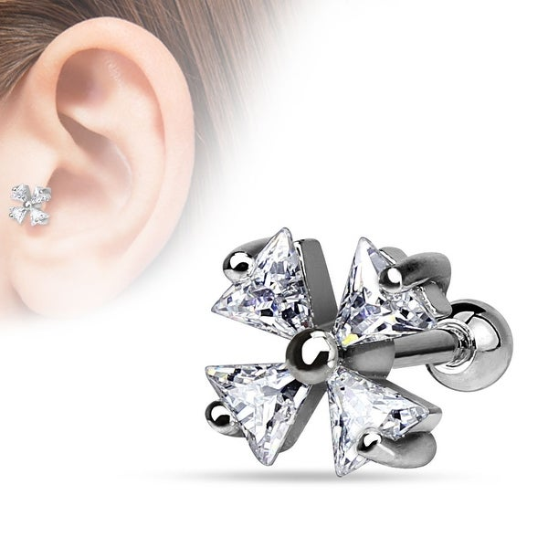 {Clear} 4 Triangle CZ Shamrock 316L Surgical Steel Cartilage/Tragus Bar (Sold Individually)