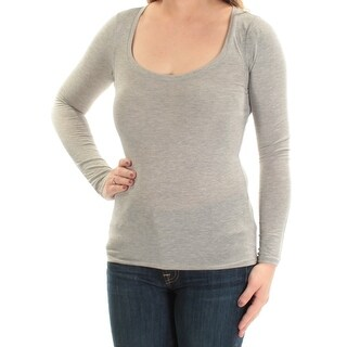 Womens Gray Long Sleeve Scoop Neck Active Wear Top Size 2XS