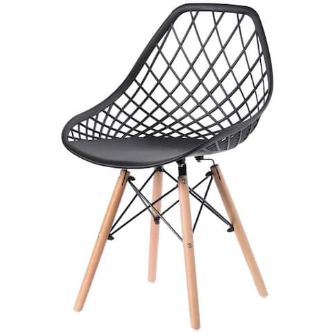 Mid-Century Modern Style Plastic DSW Shell Dining Chair Lattice Back