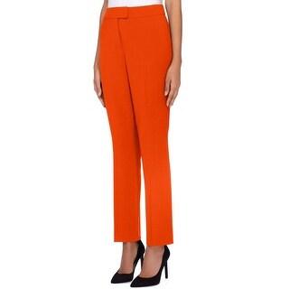 Tahari by ASL Burnt Orange Women 16 Crepe Flat Straight Dress Pants