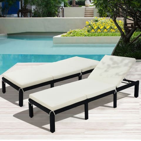 AOOLIVE Patio Rattan Wicker Chaise Lounge Chair Sunbed, Beige Cushion