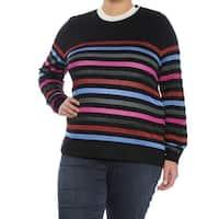 ANNE KLEIN Womens Purple Striped Long Sleeve Jewel Neck Top  Size: XL