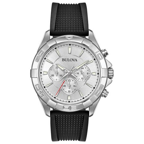 Bulova Men's 96A213 Stainless Chrono Black Silicone Textured Strap Watch - Silver-Tone
