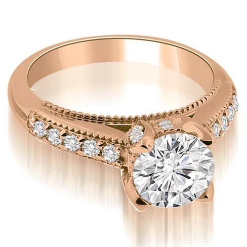 1.30 cttw. 14K Rose Gold Cathedral Milgrain Round Cut Diamond Engagement Ring