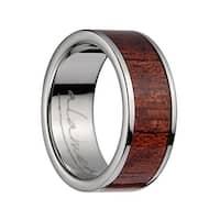 Titanium Flat Wedding Ring With Pink Ivory Inlay & Polished Edges -8MM