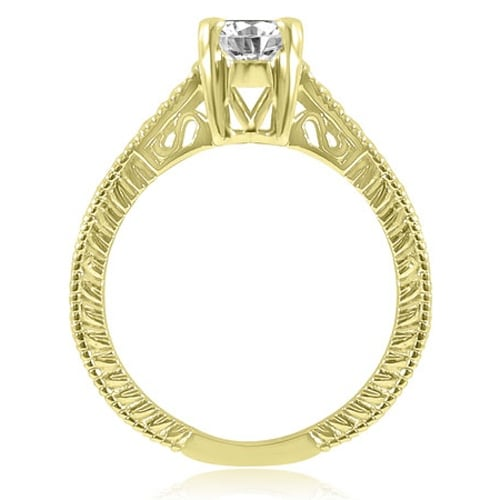 0.75 cttw. 14K Yellow Gold Antique Style Solitaire Diamond Engagement Ring