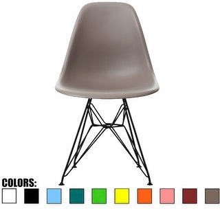 2xhome - Eames Style Molded Bedroom & Dining Room Side Ray Chair with Black Wire Eiffe Chromel Metal Leg Base