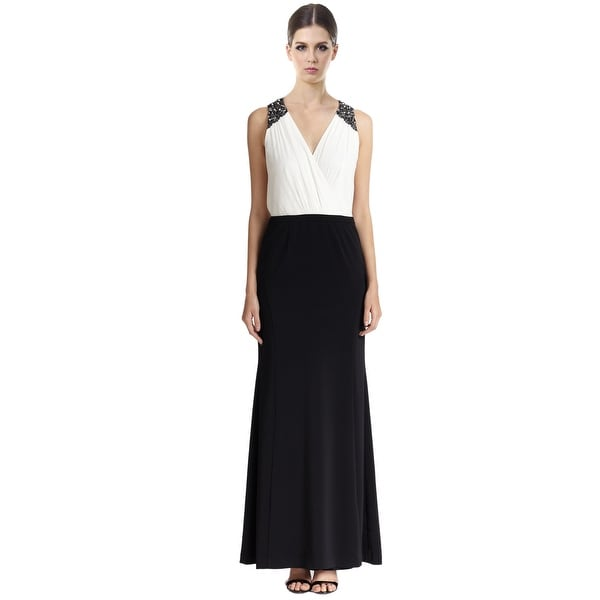 Laundry by Shelli Segal Crepe Chiffon Beaded V-Neck Evening Gown Dress