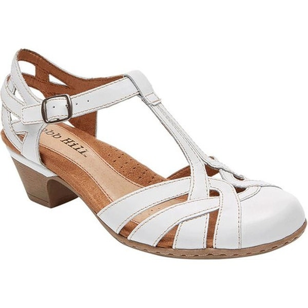 04da667c69948 Rockport Women  x27 s Cobb Hill Aubrey T Strap Sandal White Full Grain  Burnished