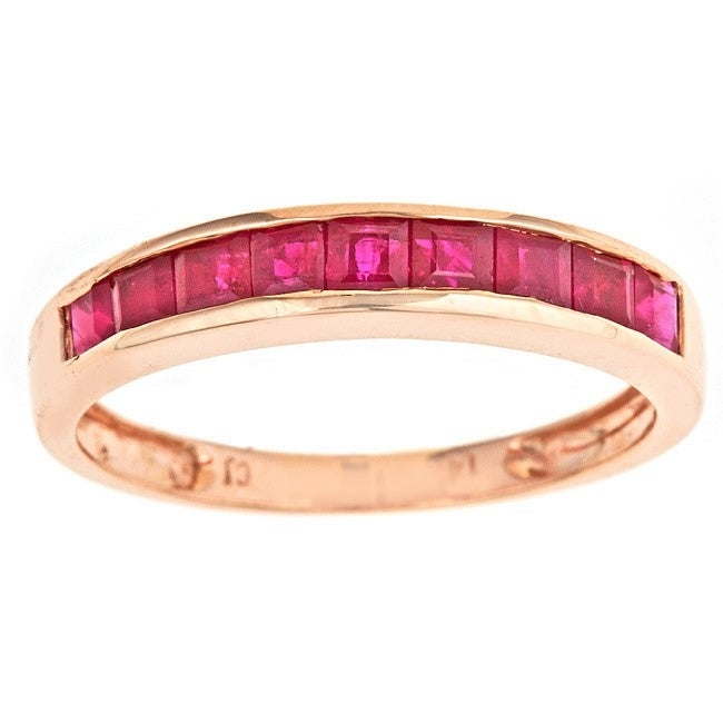 Thumbnail 1, Anika and August 14k Rose Gold Square-cut Thai Ruby Classic Ring.