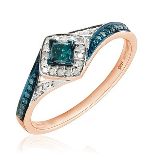 Prism Jewel 0.50Ct Princess with Round Blue Diamond & Diamond Engagement Ring - White G-H (More options available)