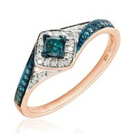 Prism Jewel 0.51Ct Princess and Round Shaped Real Blue Diamond with Diamond Engagement Ring