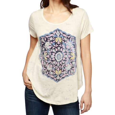 Lucky Brand Women's Beige Size Small S Floral Graphic Hi-Lo Knit Top
