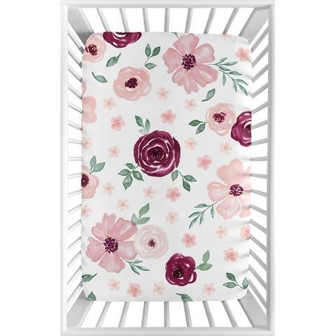 Burgundy Pink Watercolor Floral Baby Girl Fitted Mini Portable Crib Sheet - Blush Maroon Rose Green Shabby Chic Flower Farmhouse