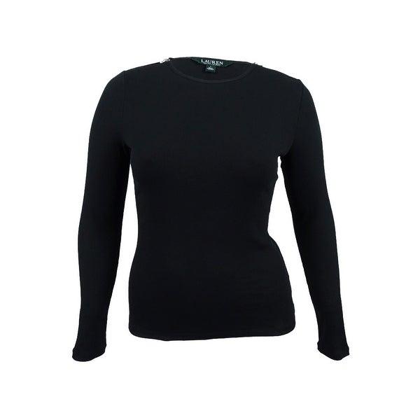 15fb37dc Shop Lauren Ralph Lauren Women's Zip-Shoulder Long-Sleeve T-Shirt (Black,  L) - Black - L - Free Shipping On Orders Over $45 - Overstock - 19770501