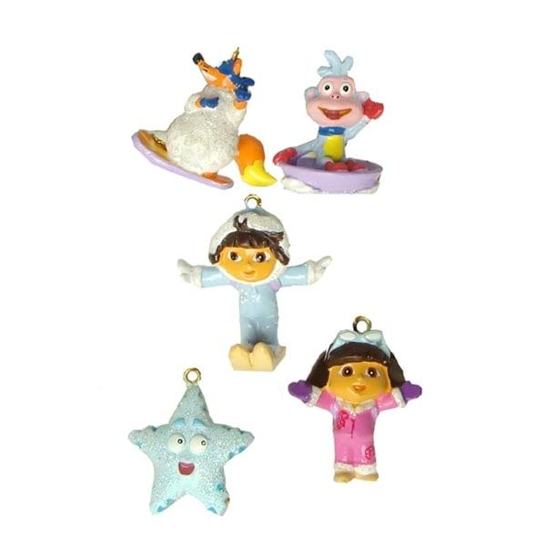 Set of 5 Dora the Explorer Mini Swiper, Boots & Friends Christmas Ornaments