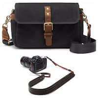 ONA Bowery Classic Camera Bag/Insert, Black, with Leather Presidio Camera Strap