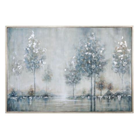 "Uttermost 35348 61"" x 41"" ""Walk In The Meadow"" Framed Art Print on Canvas by Grace Feyock - Silver Leaf"