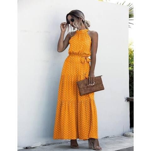 10 Color Women's Polka Dot Print Halter Dress
