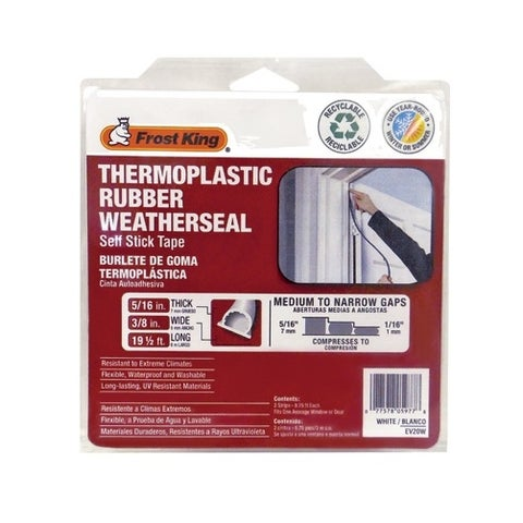 """Frost King EV20W Thermoplastic Rubber Weatherseal, White, 5/16"""" x 3/8"""" x 20'"""
