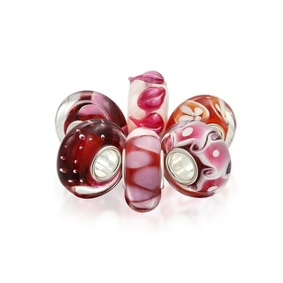 Bling Jewelry Set of Six Bundle Imitation Ruby Pink Murano glass Lampwork Bead Charm .925 Sterling Silver