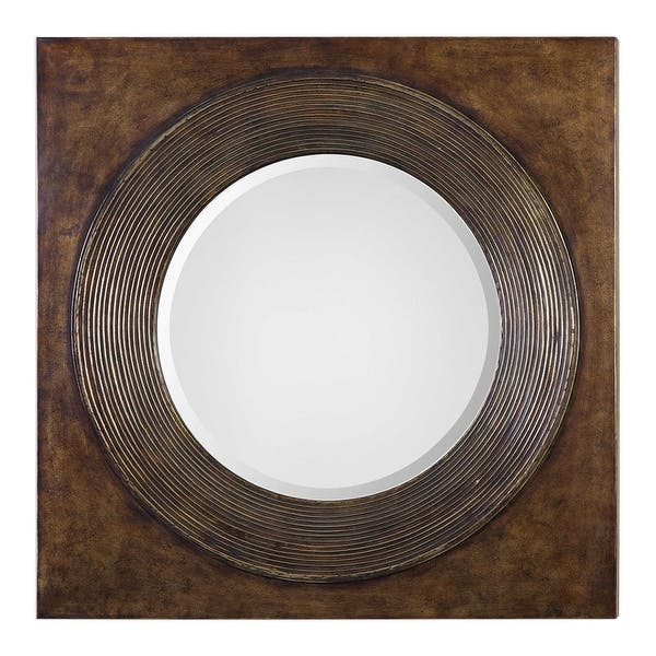 Shop 36 Eason Golden Bronze Wooden Framed Beveled Round Wall Mirror On Sale Overstock 26429809