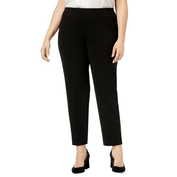 Nine West Deep Black Womens Size 2X Plus Stretch Flat-Front Pants