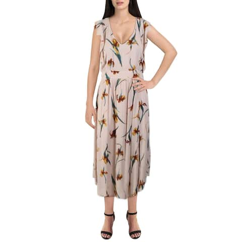 O'Neill Womens Amberynn Casual Dress Printed V-Neck - Tan
