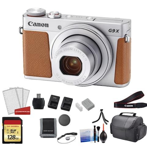 Canon PowerShot G9X Mark II Camera (Silver) with 2x 64GB Memory Card
