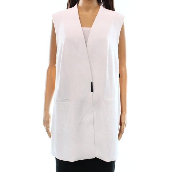 Alfani Bright White Women's Size 14 Structured Two-Pocket Vest