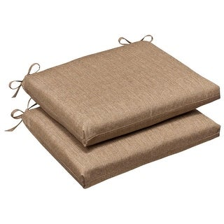 Pack Of 2 Outdoor Patio Furniture Chair Seat Cushions   Textured Tan  Sunbrella