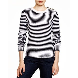 Aqua Womens Crewneck Sweater Cashmere Striped