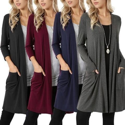 New Simple Jacket Long Sleeved Long Cardigan