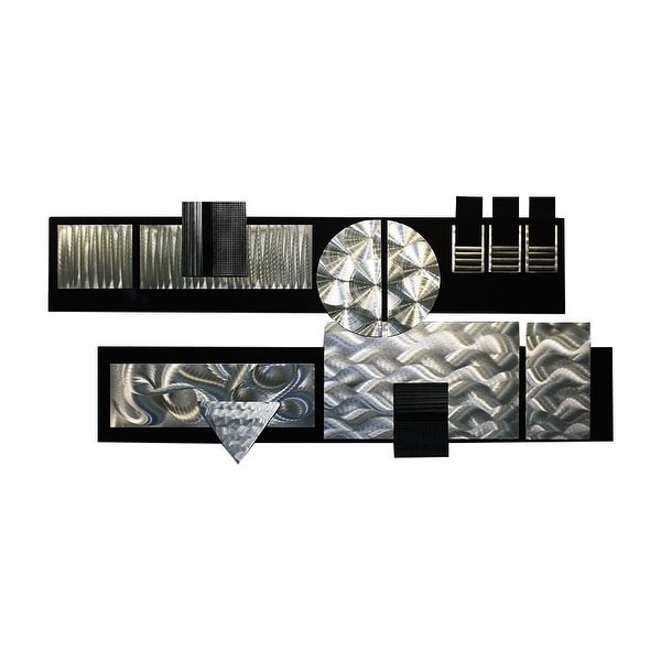 Statements2000 Huge Black / Silver Abstract Metal Wall Art Sculpture by Jon Allen - Winter Storm II