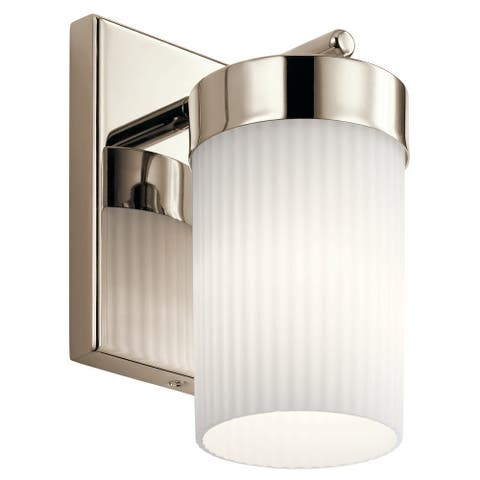 Kichler Ciona 9 inch 1 Light Wall Sconce with Round Ribbed Glass in Polished Nickel