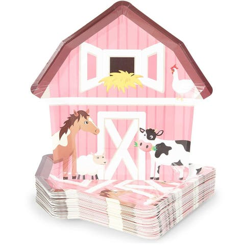 "48 Barnyard Animal Party Paper Plates Farm House Birthday Baby Shower Supplies - 9"" X 9"""